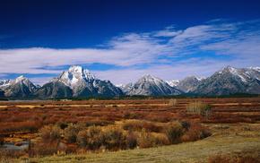 горы, природа, долина, река, лес