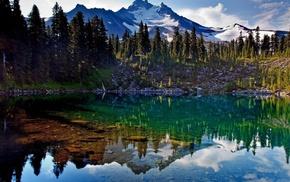 озеро, горы, Природа, лес, отражение