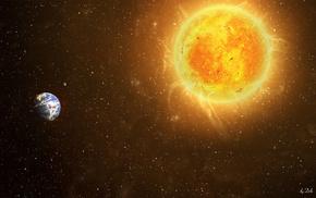 Космос, звезды, земля, солнце
