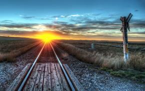 landscape, nature, railway, sunset