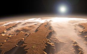 planet, mist, Sun, canyon, space