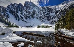 зима, горы, пейзаж, Озеро, снег