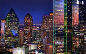 cities, evening, lights, skyscrapers