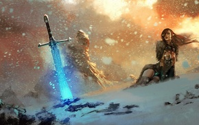 fantasy, snow, magic, fire, sword
