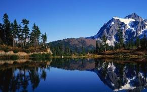 landscape, lake, snow, nature, forest