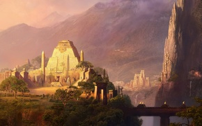 mountain, rocks, bridge, fantasy