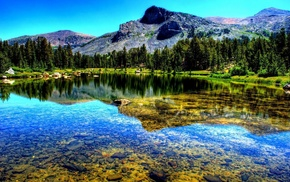 лес, Природа, горы, озеро, отражение, пейзаж