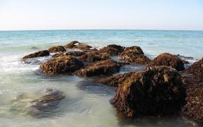 stones, waves, nature, sea, bay