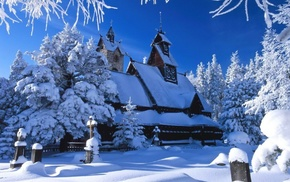 winter, house, snow
