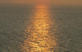 природа, солнце, закат, море