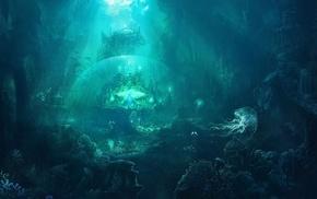 ruin, city, fantasy, underwater