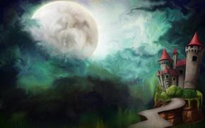 Рисунок, облака, полнолуние, дорога, замок, башни