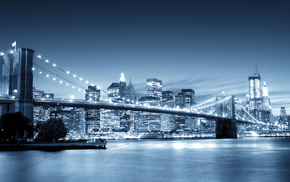 bridge, skyscrapers, city, river, cities