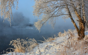 mist, winter, river, nature, snow