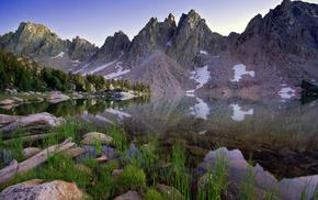 отражение, трава, озеро, Пейзаж, горы, вода