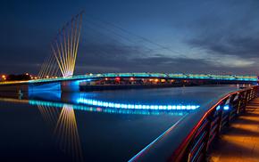 embankment, city, bridge, evening, macro