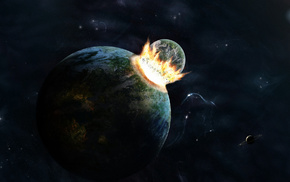 fire, planets, space, explosion
