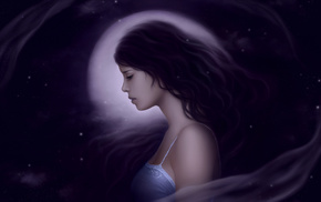 moon, night, girl, fantasy