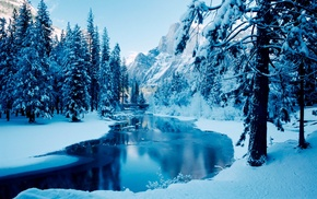 river, mountain, landscape, winter, trees