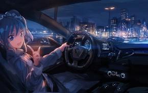 Aikatsu, night, city, anime, Ferrari, car