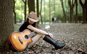 stunner, guitar, girl, mood