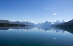 озеро, Природа, снег, небо, горы