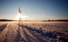 зима, пейзаж, дорога