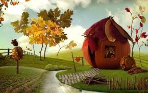 lodge, autumn, village, stunner