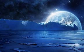 вода, ночь, 3d, льдины, лед, море