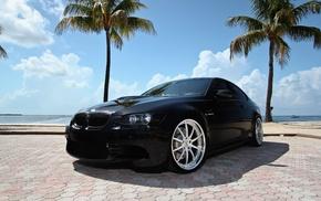 BMW, palm trees, black, m3, cars