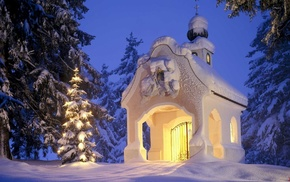 winter, forest, evening, church, lodge