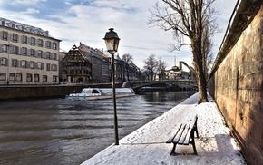 snow, embankment, winter