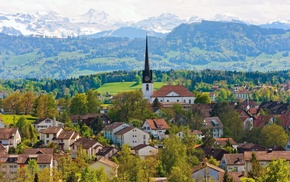 houses, mountain, church, Switzerland, cities
