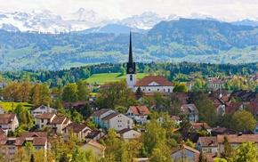 houses, mountain, church, Switzerland, cities