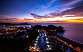 island, ocean, sunset, nature, China