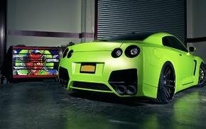 tuning, garage, green, cars
