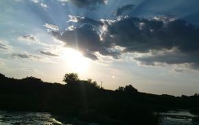 river, Sun, nature