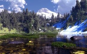 grass, mountain, art, water, 3D