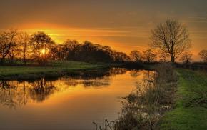 природа, закат, пейзаж, река