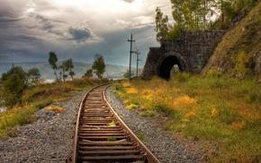 railway, landscape, nature, sky