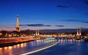 Paris, France, evening, lights, cities
