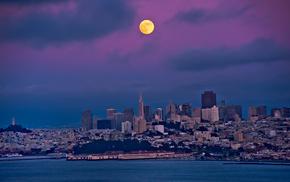 night, bay, moon, cities, sky