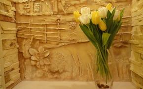 painting, tulips, flowers