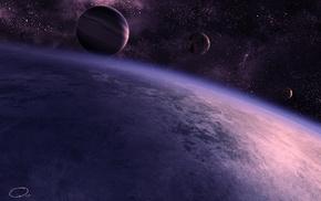 atmosphere, stars, space, satellite, art