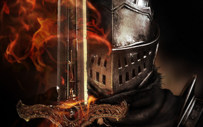 flame, video games, helmet, sword, armor
