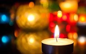свеча, огонь, свет, боке, красивые, огни