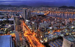 cities, evening, skyscrapers
