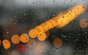 lights, rain, macro, drops