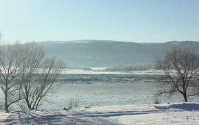 river, ice, nature