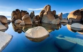 sea, stones, landscape, nature